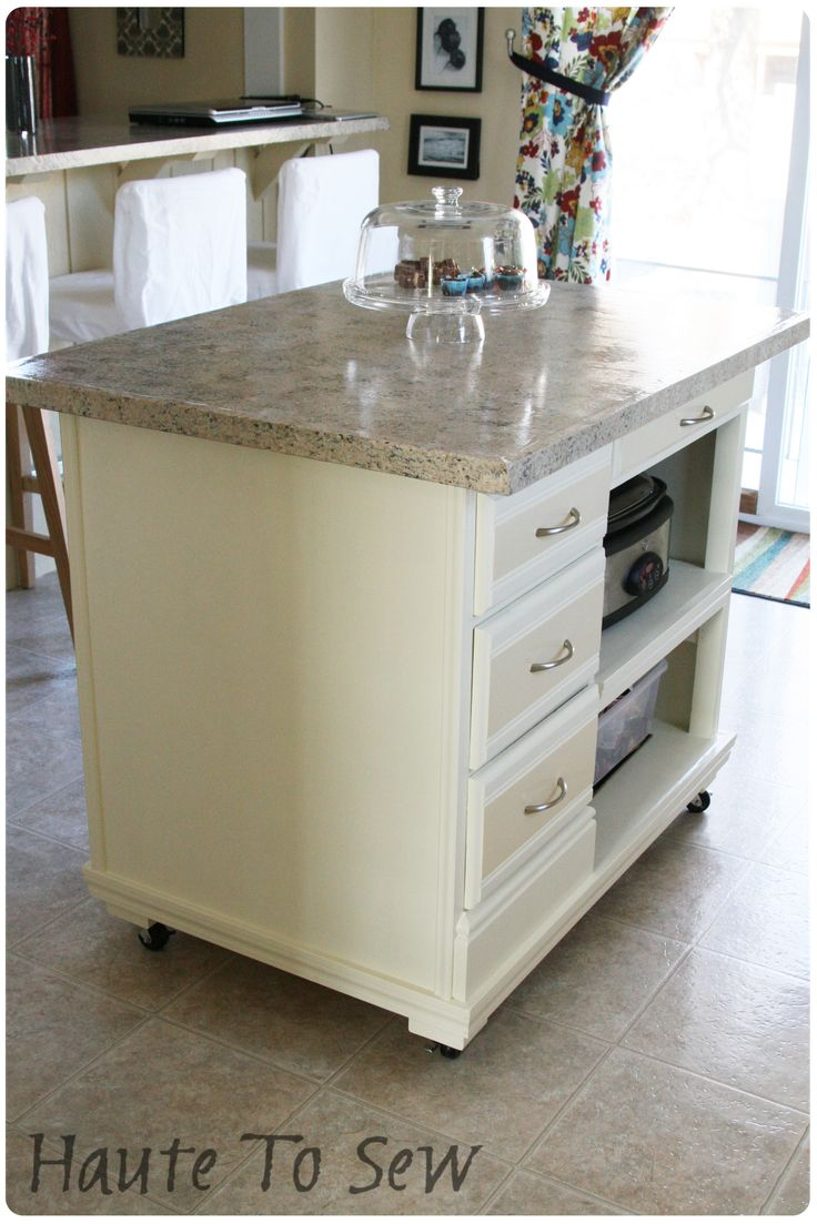 Clever Island Made Out Of A Desk And Hutch Haute To Sew