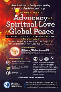 Upcoming Event: Advocacy of Spiritual Love and Global Peace  - October 25th, 2015, Toronto