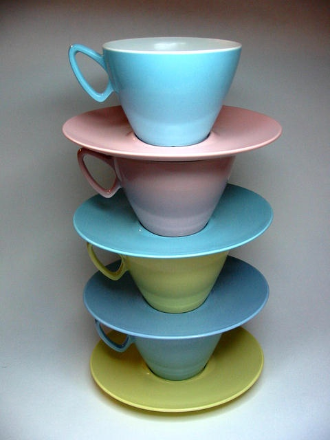 1950s Gaydon Melmex melamine cups & saucers.  Made in Streetly.