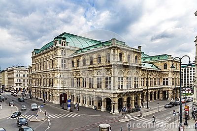 The opera house in the city of Vienna Austria - one of the leading opera houses in the world - view from Albertina terrace