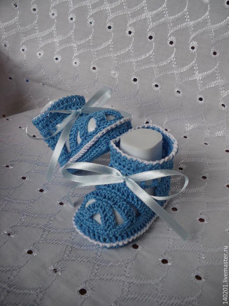 Купить Пинетки для новорожденной - голубой, рисунок, пинетки, на выписку из роддома, 100% хлопок, 100% хлопок