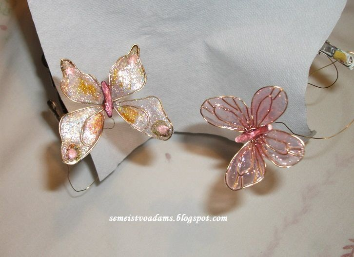 Wire butterflies with nail polish