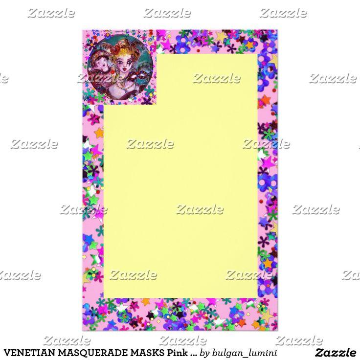 VENETIAN MASQUERADE MASKS by Bulgan Lumini (c) Pink Yellow Confetti Stationery #beauty #lovers #carnival #fineart #wedding #mardigras