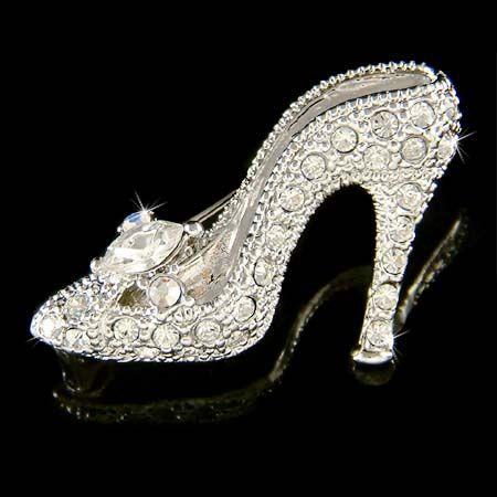 Glass Silver High Heel Shoes Figurine