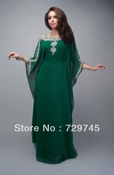 2014 Green Chiffon Applique A Line Scoop Arabic Kaftan