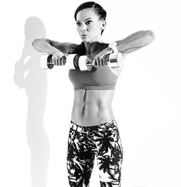 """Dumbbell Upright Row """" Setup: Stand holding a dumbbell in each hand down in front of your thighs with palms facing in. Action: Bend both elbows and raise the dumbbells up your body to chest height. Slowly lower back down and repeat. """""""