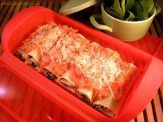 Lasaña enrollada de espinacas, queso y piñones | Es pan comido