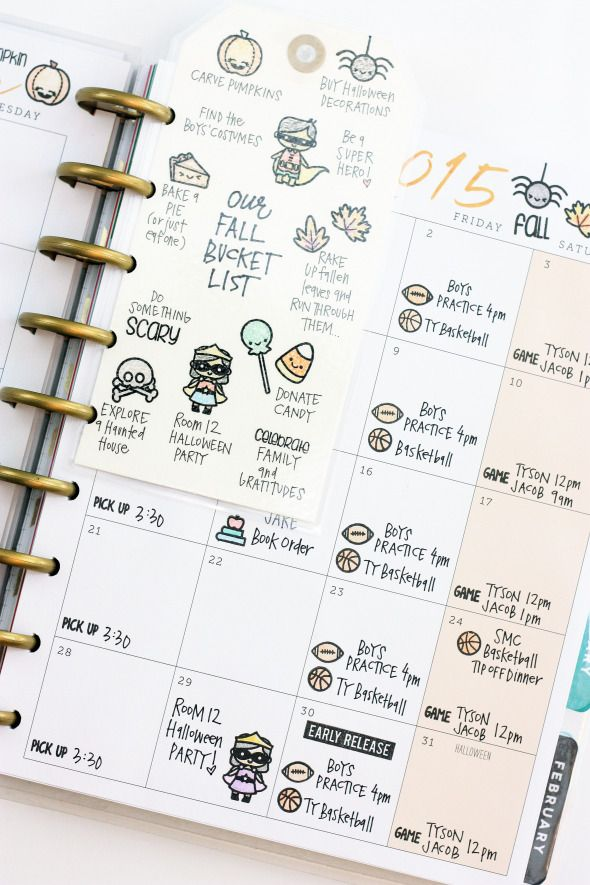 Fall bucket list by contributor April Orr using the Sweet Stamp Shop Fall Into Christmas, Plan Everyday and Plan School stamp sets