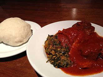 Nigerian cuisine: A plate of pounded yam and Egusi  Soup