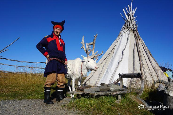 Sami man and raindeer Nord Kapp Norway Hurtigruten