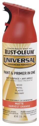 Rust-Oleum® Universal® Matte Harvest Orange Paint and Primer Spray - 12 oz at Menards®: Rust-Oleum® Universal® Matte Harvest Orange Paint and Primer Spray - 12 oz