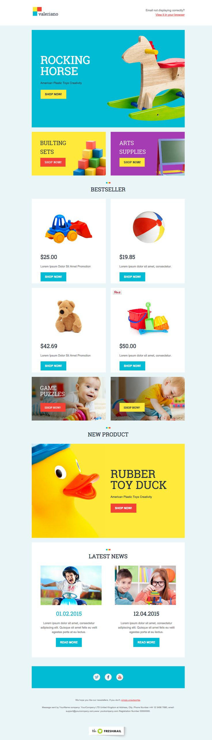 kids children newsletter template design ideas examples for your inspiration valeriano template created by freshmail - Newsletter Design Ideas