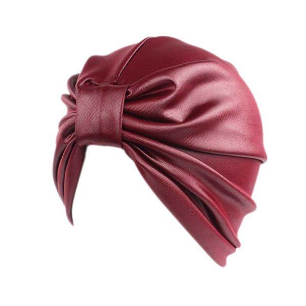 Womens Solid Adjustable Turban Beanies Cap at Banggood