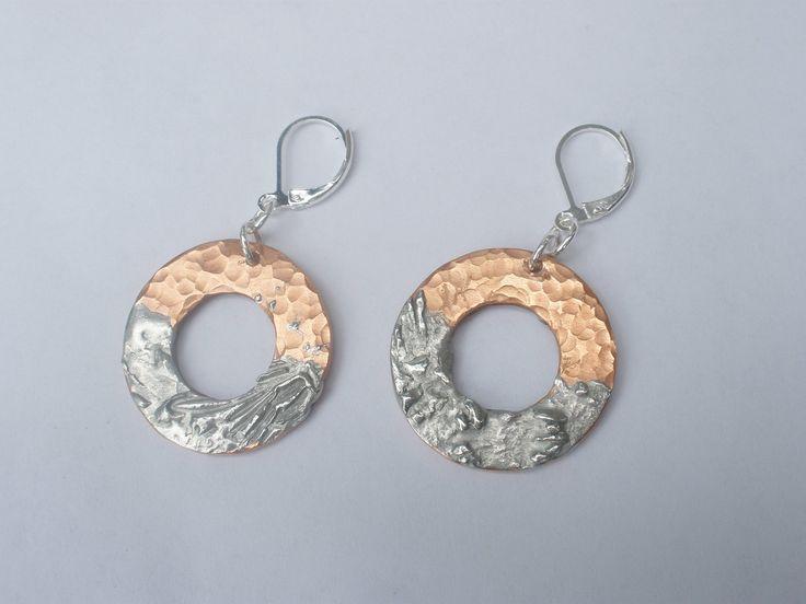 Handmade Gypsy style, silver earrings, drop earrings, one of a kind, tinned silver, brass, dangle earrings, wearable art, artist design by ArtandSoulStudios on Etsy