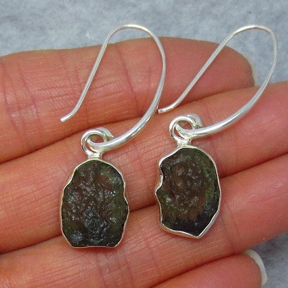 Sterling Silver Long Dangles Leverback su172308 Genuine Czech Moldavite Earrings
