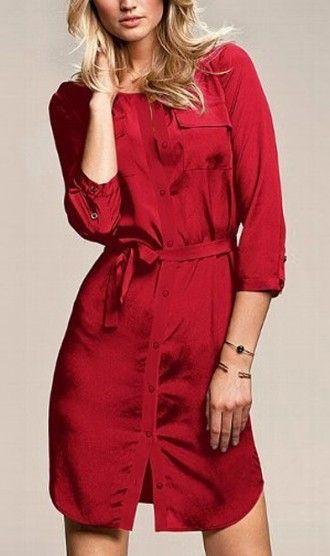 Three quarter sleeve dress  WQZ9302 Red