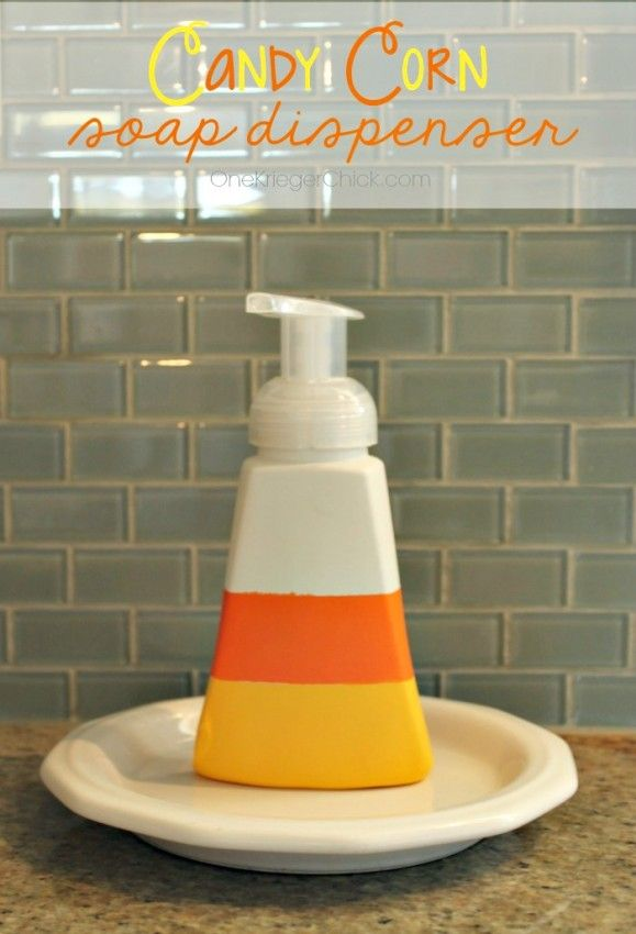 Halloween Decorations: Candy Corn Soap Dispenser | The NY Melrose Family