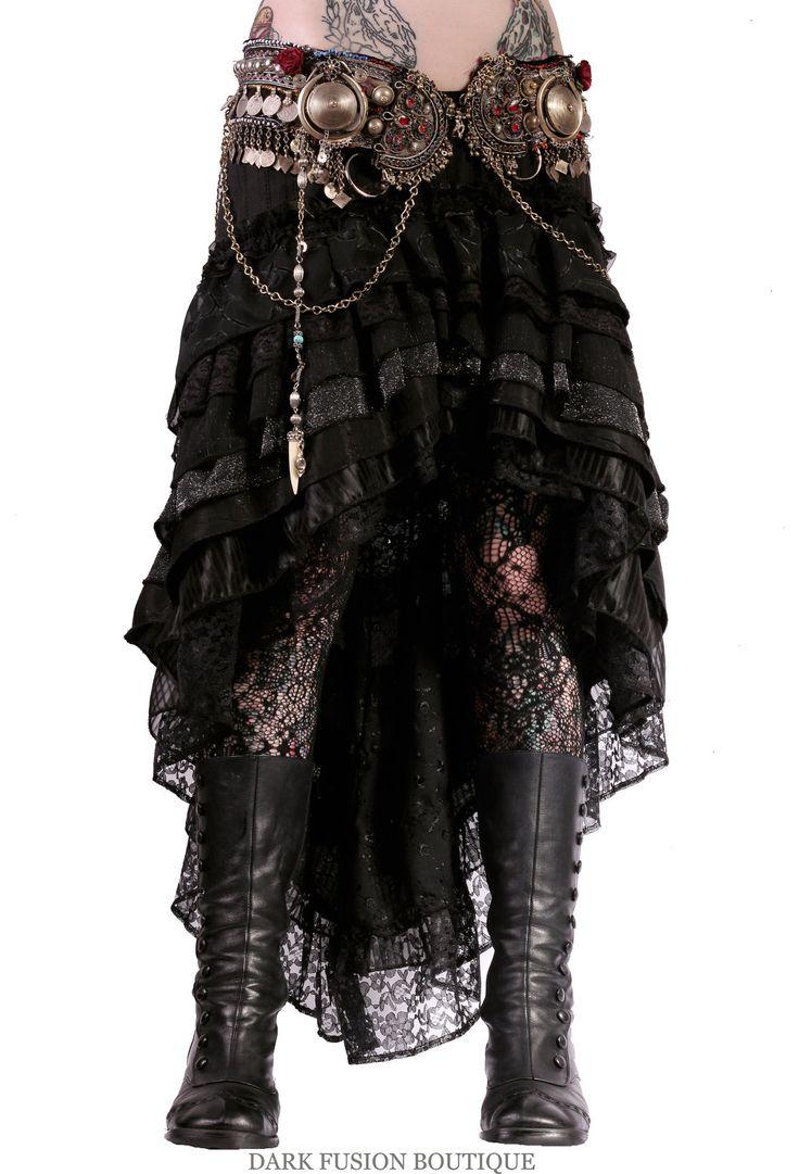 Mermaid Skirt, Black and Silver Stretch, Ruffles, Cabaret, Vaudeville, Steampunk, Vampire, Noir,Belly Dance