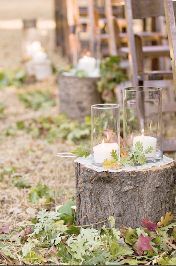 fall tree stump rustic wedding aisle ideas
