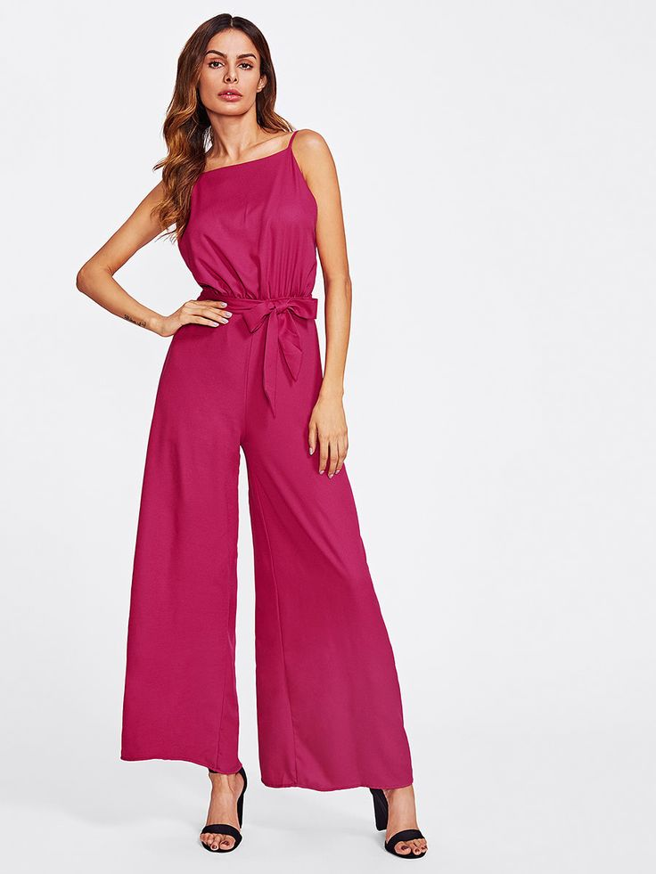 Shop Open Back Wide Leg Cami Jumpsuit With Belt online. SheIn offers Open Back Wide Leg Cami Jumpsuit With Belt & more to fit your fashionable needs.