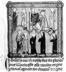 Le pape Etienne II couronne Pepin le Bref -Childéric III est déposé. Grandes chroniques de France, Bibliothèque Ste-Geneviève, Paris- PEPIN III, 1)BIOGHRAPHIE 1.1 MAIRE DU PALAIS AVEC CARLOMAN. 1.14 EVICTION DU DERNIER MEROVINGIEN, 3: En 749 ou 750, Pépin envoie une délégation franque auprès du pape ZACHARIE, pour lui demander l'autorisation de mettre fin au règne décadent des Mérovingiens, et donc de prendre la couronne à la place de CHILDERIC III.