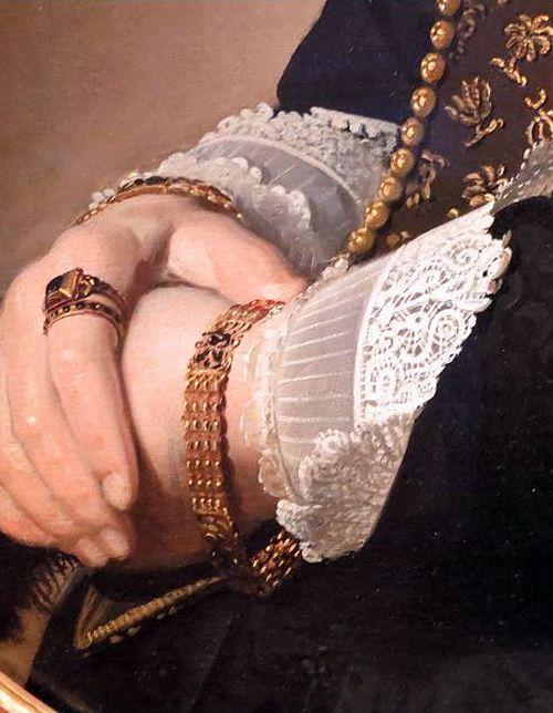 Detail of Portrait of a Woman by Johannes Cornelisz Verspronck,1641