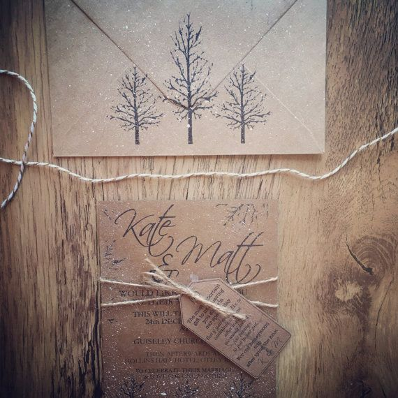 Winter Wedding Rustic Invitation Suite Handcrafted by QuaintlyKate