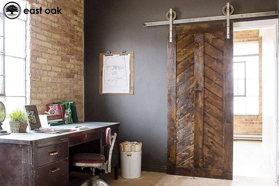 Barn Door Classic Rustic Sliding Chevron Door Custom by EastOak, $450.00 for a door from the office to the dining room?