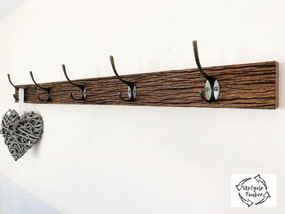 handmade rustic timber coat rack hook