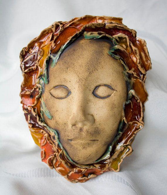 Ceramic mask orange red yellow green handmade OOAK by ClayLadyArt