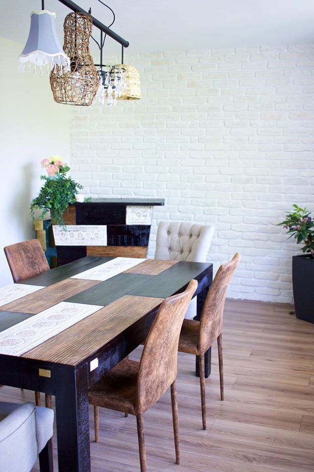 Dining Room Feature Wall using Rustic White brick slips