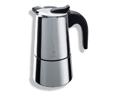 Bialetti Musa 6-cup Stainless Steel Espresso Maker  is the very definition of modern, luxe elegance designed by Bialetti, the gold standard of Italian espresso makers since 1933.  The Musa can be used on ceramic, gas and electric stoves and comes with a cool grip black nylon handle.  Sizing: 6 Espresso Cups = 10 fl.oz / 300ml