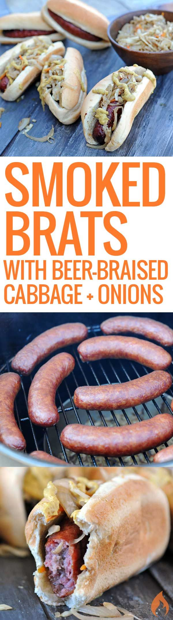 Every tailgate party needs a cooker full of smoked bratwursts. These are made even better with smoked beer-braised cabbage and onions.