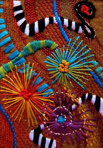 Colorful embroidery detail