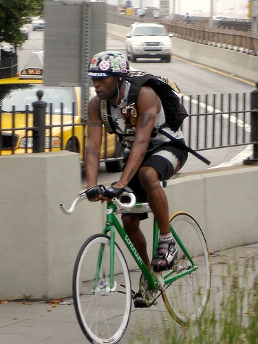 Some interesting stories from professional bicycle couriers.  http://www.nydailynews.com/entertainment/tv-movies/wheel-world-real-life-premium-rush-riders-spin-nyc-bike-messenger-tales-article-1.1140273