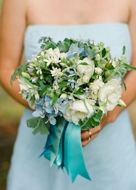 Gorgeous Aqua Bridesmaid Dress with Organic Floral Bouquet:  Inspired by Blue Wedding Details