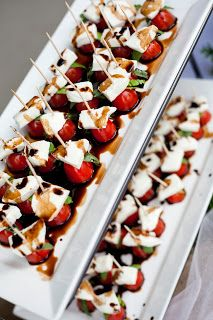Time of Our Lives: capreze kabobs served at an outdoor wedding reception