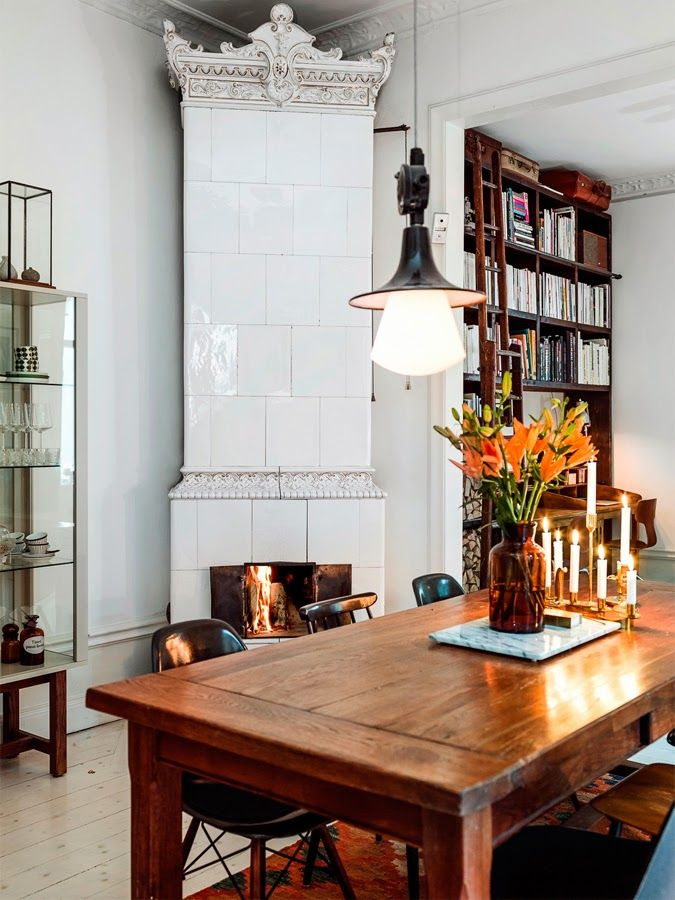 A Swedish fireplace in the dining room.