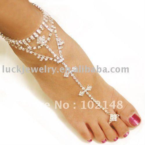 sexy rhinestone barefoot sandals, foot bracelet,beach foot jewelry, cross beads anklets for women $5.80