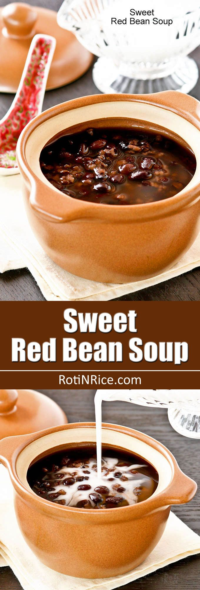 A twist on the popular Chinese Sweet Red Bean Soup dessert made with the addition of black glutinous rice. Delicious warm or cold with coconut cream. | RotiNRice.com