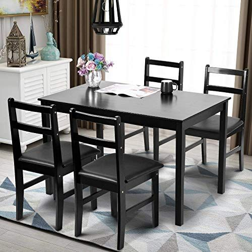xhhwzb modern 5pcs dining table set pine wood kitchen dinette table rh pinterest com