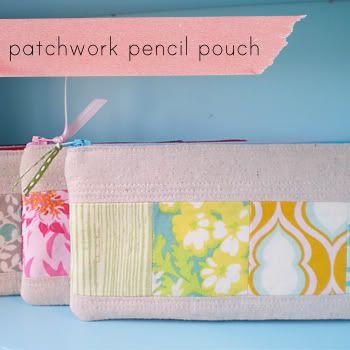 Patchwork pencil pouch
