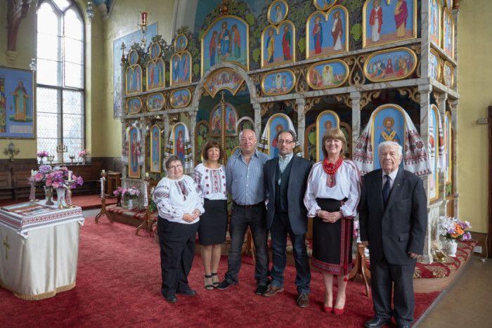 Ukrainian Church, Lemon Street, off Queens Road, Halifax. Lesia Anderton, Maria McPeake, Bohdan Kurylak, Roman Suchyj, Olga Capone and Basil Lopuszniak.
