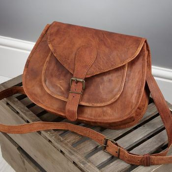 Vintage Style Leather Saddle Bag  Medium By by VidaVidaAccessories