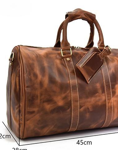 Genuine Leather Mens Cool Vintage Brown Weekender Bag Travel Bag Duffle Bags  Overnight Bag Holdall Bag 497e09b39e4c