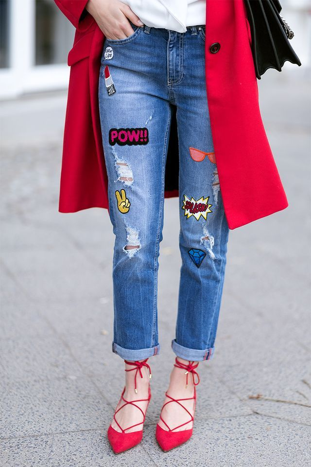 Red Coat, Patched Jeans and Lace Up Heels
