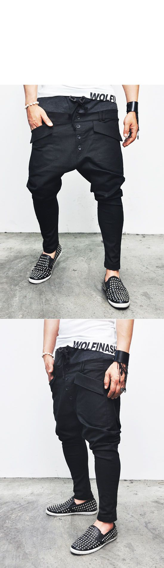 Bottoms :: Sweatpants :: Hipster's Double-layered Mix Drop Crotch Baggy-Pants 80 - Mens Fashion Clothing For An Attractive Guy Look