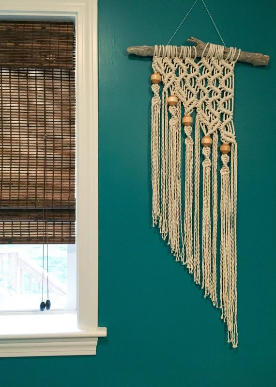 Beaded Vines Macrame Wall Hanging on Natural by beeWEAVEitorKNOT