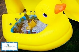 I love the idea of using a infant duck tub to hold drinks. Maybe that is what we will do with Josh's tub.