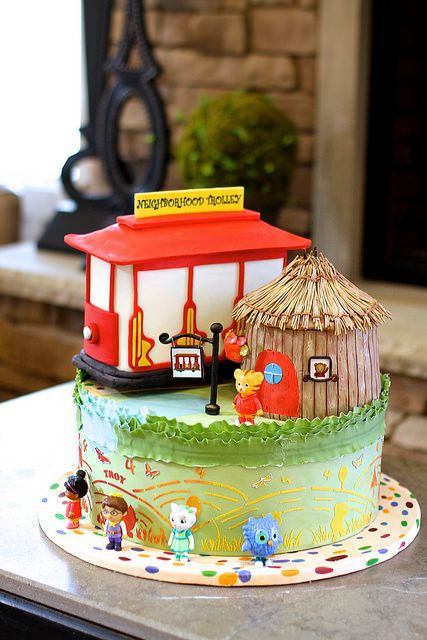 Troy's 4th birthday cake - It's a Daniel Tiger's Neighborhood cake!   This Daniel Tiger cake was made by Leyda Vakarelov, and it was the highlight of the party!(http://www.customcakesatelier.com/CCA/Home.html)